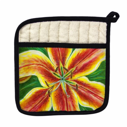 Betsy Drake Yellow Lily Pot Holder Perspective: front