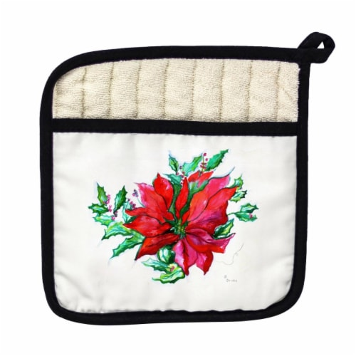 Betsy Drake Poinsettia Pot Holder Perspective: front