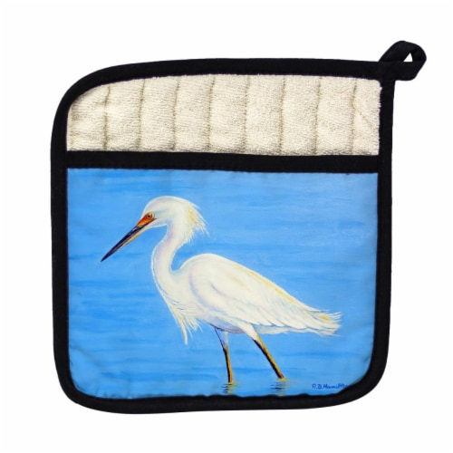 Betsy Drake Stalking Snowy Egret Pot Holder Perspective: front