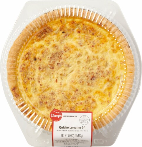 Ukrop's 9-Inch Bacon Sauteed Onion and Swiss Cheese Lorraine Quiche Perspective: front