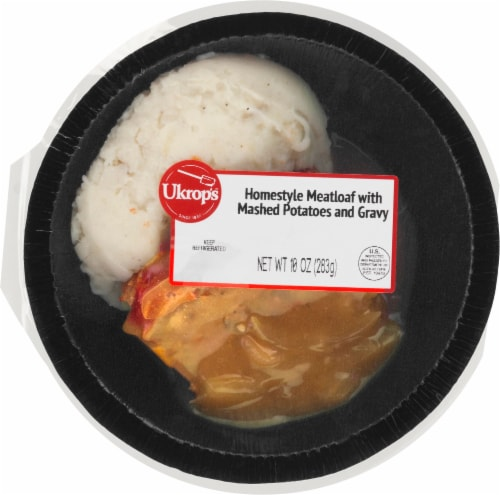Ukrop's Homestyle Meatloaf with Mashed Potatoes and Gravy Entree Meal Perspective: front