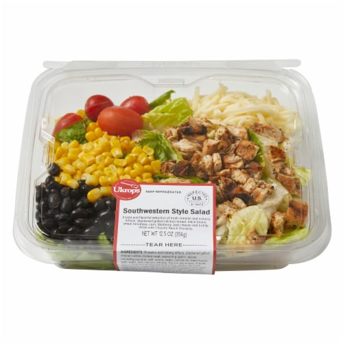 Ukrop's Southwestern Style Salad with Blackened Grilled Chicken Perspective: front