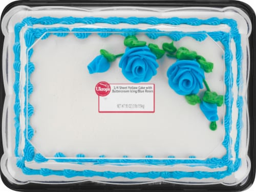 Ukrop's Quarter Yellow White Blue Rose Cake Perspective: front