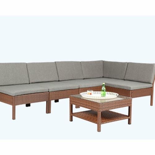 Baner Garden K55-BR 6 Piece Outdoor Furniture Complete Patio Backyard Pool Wicker Rattan Gard Perspective: front