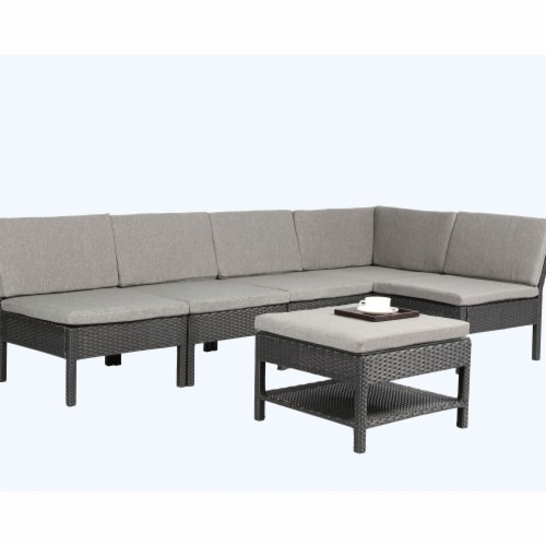 Baner Garden K55 6 Piece Outdoor Furniture Complete Patio Backyard Pool Wicker Rattan Garden Perspective: front
