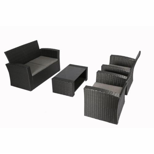 Baner Garden N87 4 Piece Outdoor Furniture Complete Patio PE Wicker Rattan Garden Set, Black Perspective: front
