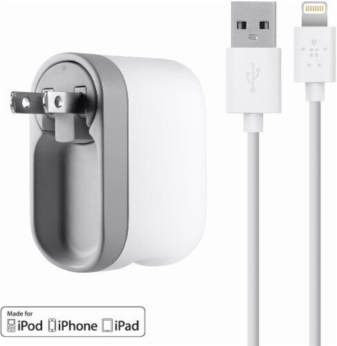 Belkin Swivel Charger with Lightning ChargeSync Cable - White Perspective: front