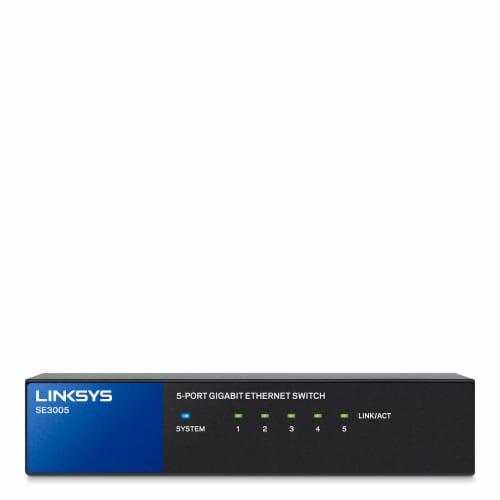 Linksys 5-Port Gigabit Ethernet Switch - Black/Blue Perspective: front