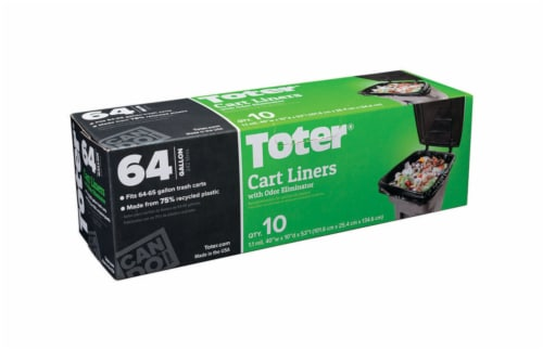 Toter 64 gal. Cart Liner Quick Tie 10 pk - Case Of: 1; Each Pack Qty: 10; Total Items Qty: 10 Perspective: front
