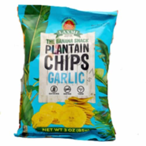 Laxmi Plantain Chips Garlic - 340 Gm (12 Oz) Perspective: front