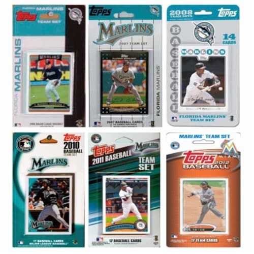 C & I Collectables MARLINS612TS MLB Florida Marlins 6 Different Licensed Trading Card Team Se Perspective: front