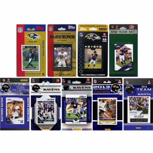 CandICollectables RAVENS914TS NFL Baltimore Ravens 9 Different Licensed Trading Card Team Set Perspective: front