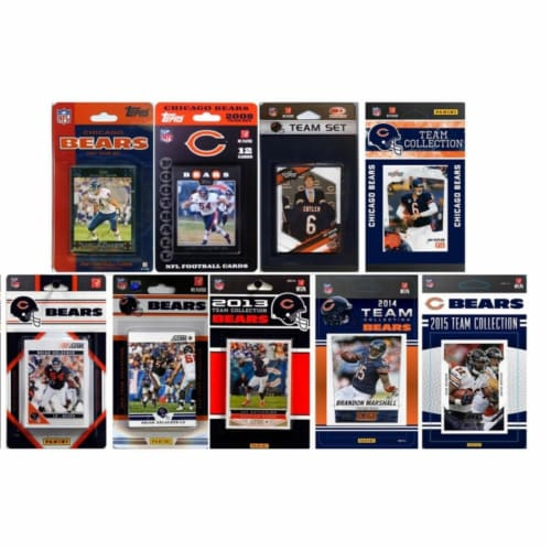 CandICollectables BEARS915TS NFL Chicago Bears 9 Different Licensed Trading Card Team Sets Perspective: front