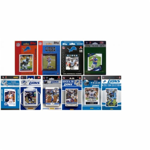CandICollectables LIONS1015TS NFL Detroit Lions 10 Different Licensed Trading Card Team Sets Perspective: front