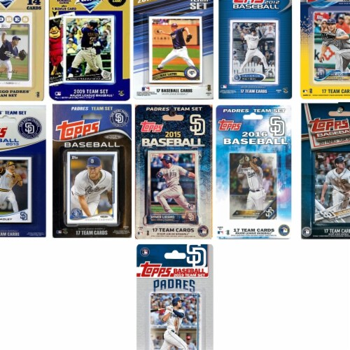 C&I Collectables PADRES1119TS MLB San Diego Padres 11 Different Licensed Trading Card Team Se Perspective: front