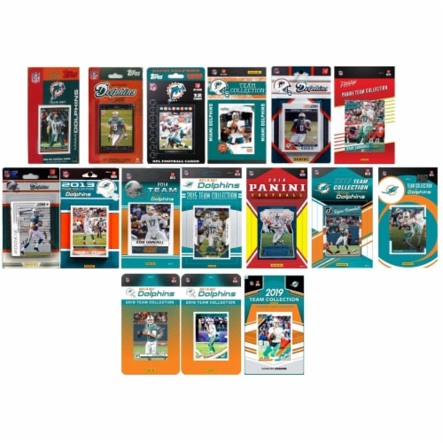 C&I Collectables DOLPHINS1619TS NHL Miami Dolphins 16 Different Licensed Trading Card Team Se Perspective: front