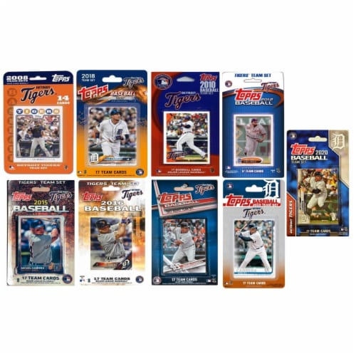C&I Collectables TIGERS919TS MLB Detroit Tigers 9 Different Licensed Trading Card Team Set Perspective: front