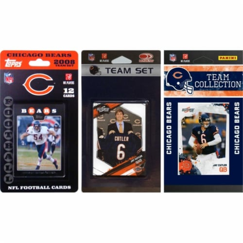 C & I Collectables BEARS3TS NFL Chicago Bears 3 Different Licensed Trading Card Team Sets Perspective: front