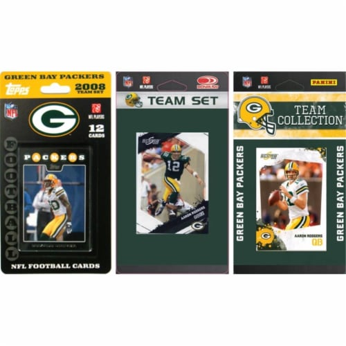 C & I Collectables PACKERS3TS NFL Green Bay Packers 3 Different Licensed Trading Card Team Se Perspective: front