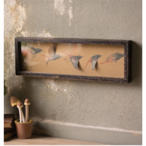 Framed Paper Flying Birds Under Glass 20  X 6.5 T Perspective: front
