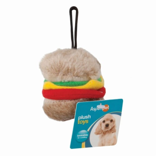 Aspenpet Small Hamburger Plush Dog Toy Perspective: front