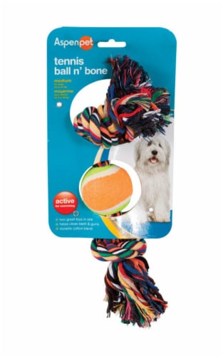 Booda Multicolored Rope Bone and Ball Cotton Dog Toy Medium - Case Of: 1; Perspective: front