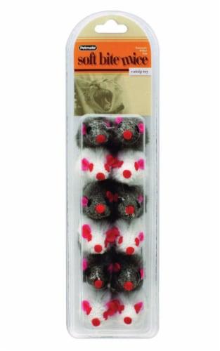 Aspen Pet Gray/White Plush Softbite Fur Mice Cat Toy Small 12 pk - Case Of: 1; Perspective: front