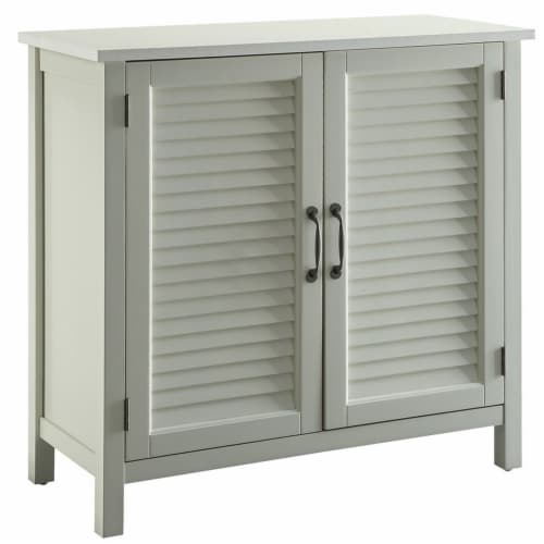 Belray Home Storage Accent Cabinet with 2 Shutter Doors and Shelf, Off White Perspective: front