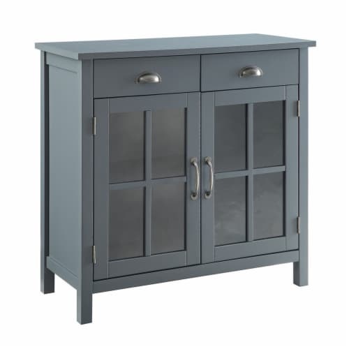 Belray Home Accent Glass Door Cabinet with Drawers and Adjustable Shelf, Gray Perspective: front