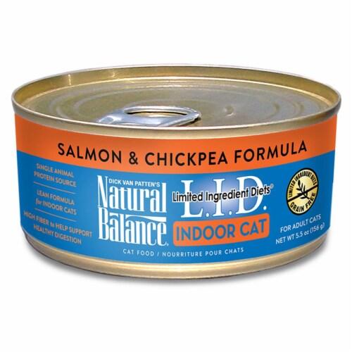Natural Balance Pet Foods 723633149952 5.5 oz Natural Balance Lid Indoor Cat Salmon & Chickpe Perspective: front