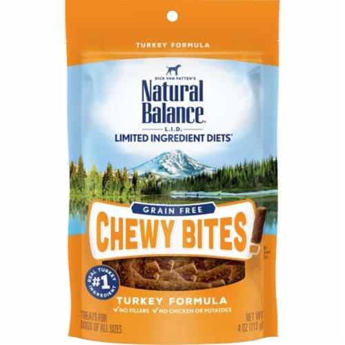 Natural Balance Pet Foods NA30817 4 oz LID Dog Grain Free Turkey Chewy Bites Perspective: front