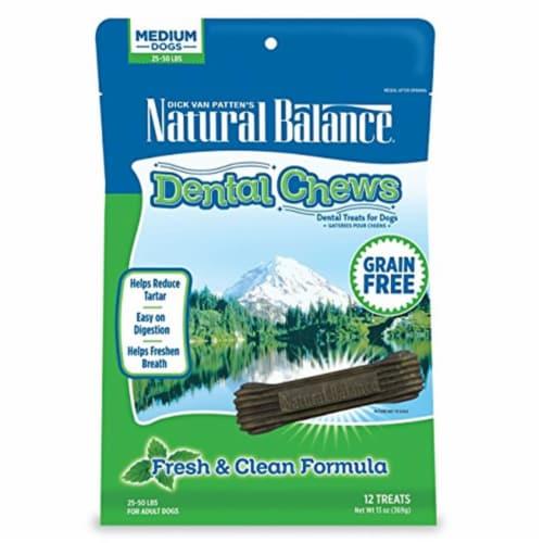 Natural Balance Pet Foods NA44138 Dental Chews Fresh & Clean Formula, Medium Dog Treats, 13oz Perspective: front