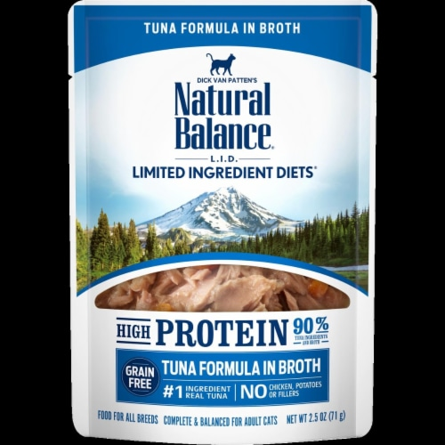 Natural Balance Pet Foods NA49299 2.5 oz LID High Protein Tuna Formula in Broth Wet Cat Food, Perspective: front