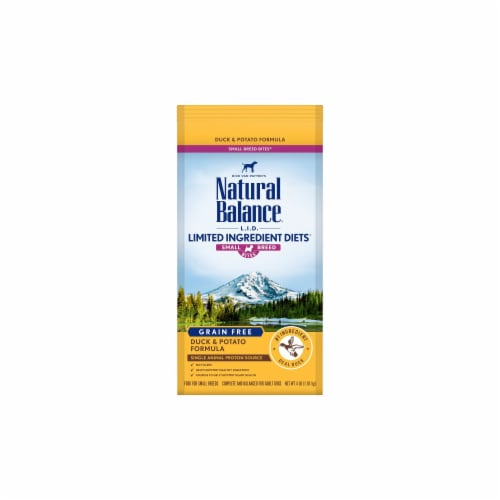 Natural Balance Pet Foods NA77778 LID Dog Duck & Potato Small Breed Bites Dry Dog Food, 4 lbs Perspective: front