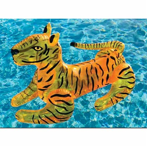 International Leisure Products 8061595 Plastic Inflatable Pool Float Tiger Toy, Black & Yello Perspective: front