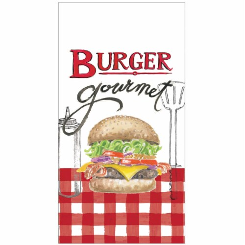 Kay Dee Designs Burger Gourmet Dual Purpose Towel - Red/White Perspective: front