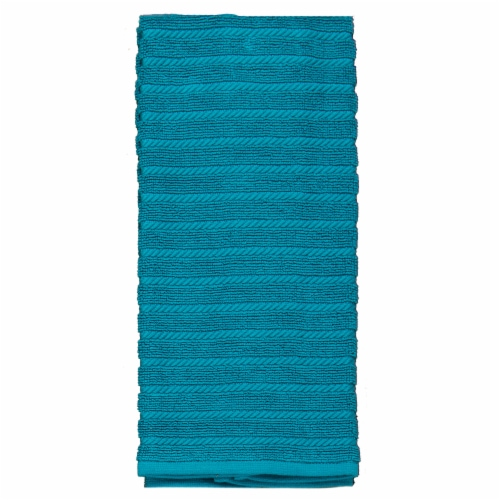 Kay Dee Designs Terry Ribbed Kitchen Towels - 2 Pack - Teal Perspective: front