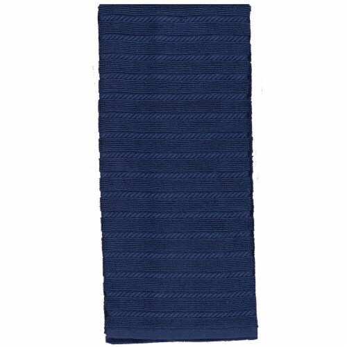 Kay Dee Designs Terry Ribbed Kitchen Towels 2 Pack - Cobalt Perspective: front