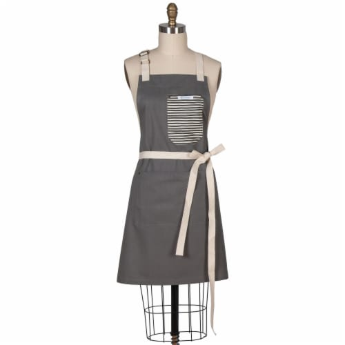 Kaydee Designs Apron with Stripe Pocket - Charcoal Perspective: front