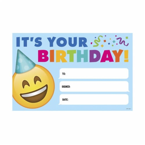 Emoji Happy Birthday Fun Awards - Pack of 30 Perspective: front