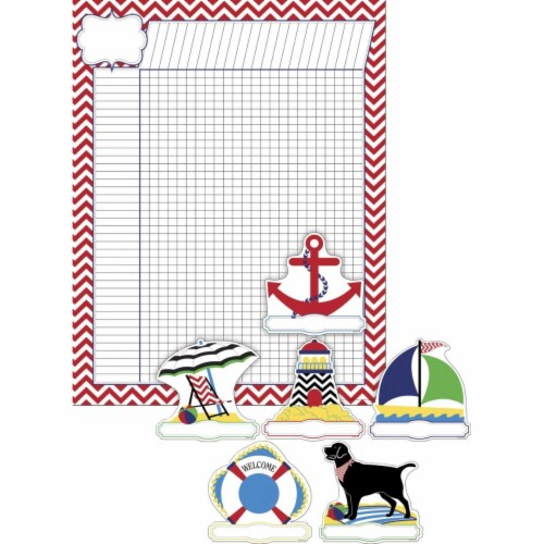 Nautical Chevron Incentive Chart & Accent Set, Set of 37 Perspective: front
