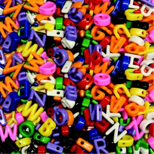 Plastic Cube Uppercase Letter Bead, Pack - 288 Perspective: front