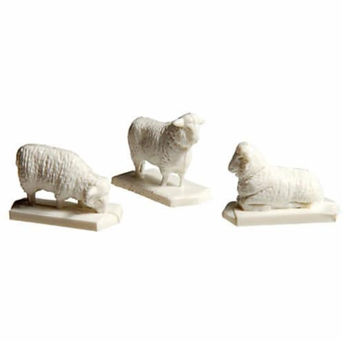 HO Scale Model Railroad - Train Accessory Sheep 12 White & 1 Black Perspective: front