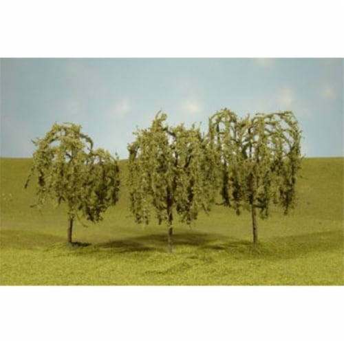 N Scale 2.25-2.5 in. Willow Trees - 4 Piece Perspective: front