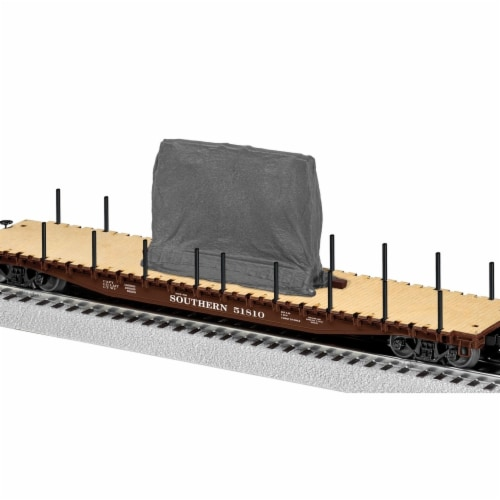 Southern Scale PS-4 Flatcar with Tarped Load Perspective: front