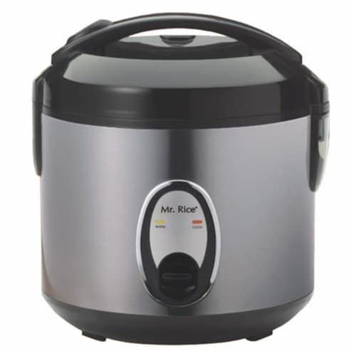 6 Cup Rice Cooker With Stainless Steel Body Perspective: front