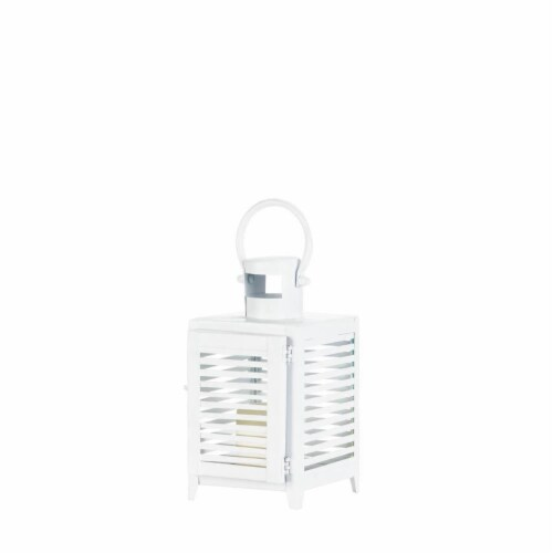 Horizon Candle Lantern, White - Small Perspective: front
