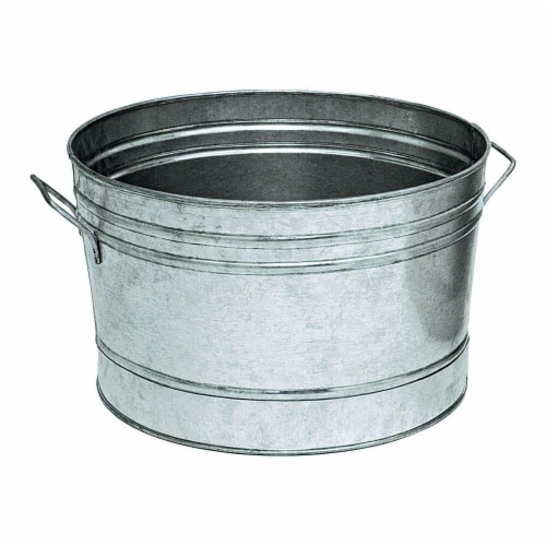 14 in. Galvanized Round Tub Planter Perspective: front