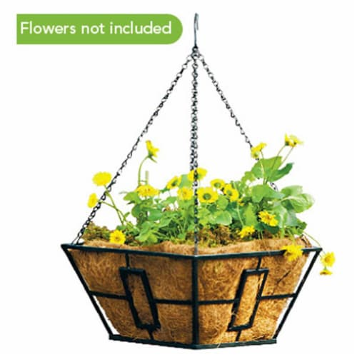 87850 Black Square Contemporary Style Hanging Basket Perspective: front
