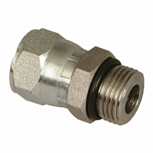 39038898 0.58 in. Male O-Ring Boss x 0.5 in. Female JIC Swivel Hydraulic Adapter Perspective: front
